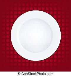 placa blanca, en, fondo rojo