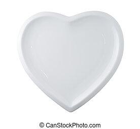 placa blanca, en forma, de, corazón, aislado, blanco