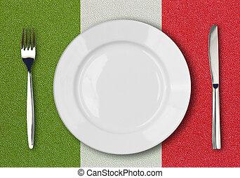 placa blanca, tenedor, y, cuchillo, punta la vista, en, bandera italiana, plástico, tabla