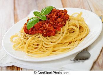 placa, blanco, bolognese, espaguetis