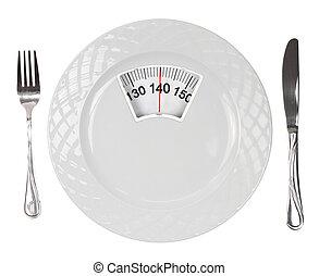 placa, blanco, escala, peso