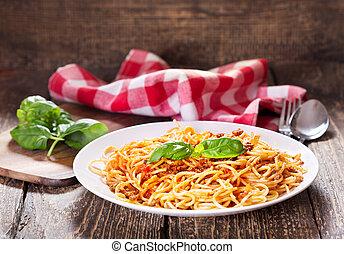 placa, bolognese, espaguetis
