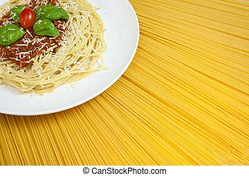 placa, bolognese, soleado, pastas secadas, espaguetis, exhibición