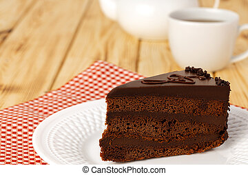 placa, chocolate, pedazo, blanco, tabla, pastel