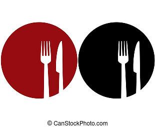 placa, con, tenedor, y, cuchillo