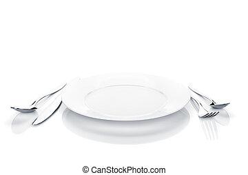 placa, conjunto, tenedor, cubiertos, cuchara, cubertería, o, cuchillo