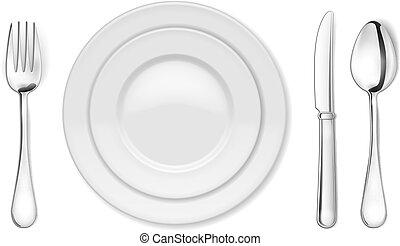 placa de cena, cuchillo, tenedor, y, cuchara