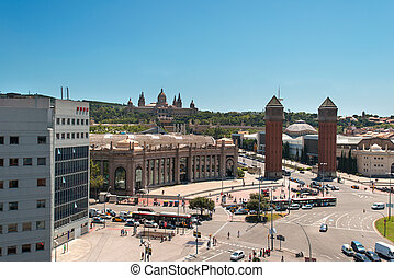 Placa De Espanya the National Museum in Barcelona Spain