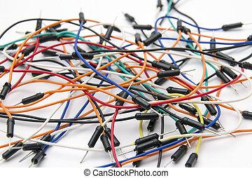 placa de inserción, alambres, cable, puente