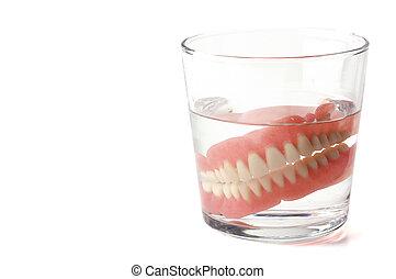 placa, dentadura llena, dental, cristal del agua