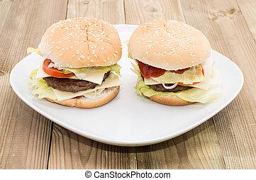 placa, dos, cheeseburgers