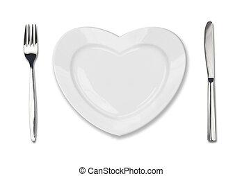 placa, en forma, de, corazón, cuchillo de mesa, y, tenedor, aislado, blanco