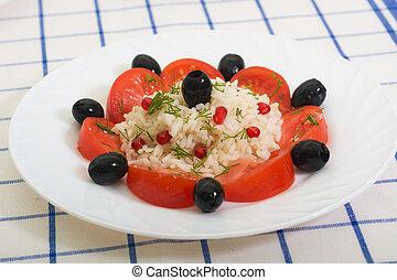 placa, ensalada, sano, granada, arroz blanco, tomates