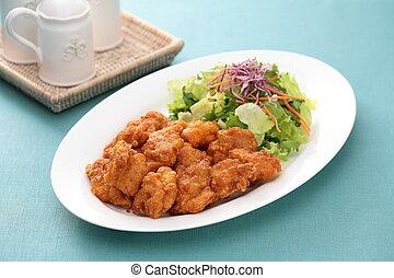 placa, ensalada, taza, té, toma, sunsal, tabla, pollo,...