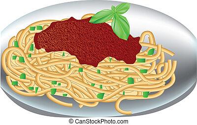 placa, espaguetis