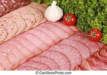 placa, fiambrería, carne