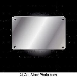 placa, fondo cuadrícula, metálico