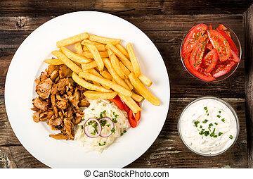 placa, fríe, kebab, francés