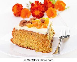 placa, glaseado, torta de la zanahoria, blanco, pedazo