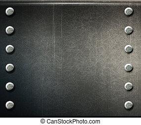 placa, grunge, metal, vector, plano de fondo, tornillos
