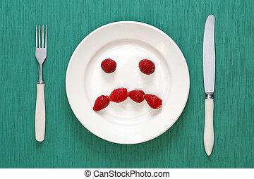 placa, hecho, tenedor, triste, fresas, cara, cuchillo