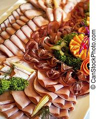 placa, jamón, buffet
