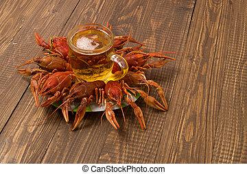 placa, jarra, cerveza, crayfishes