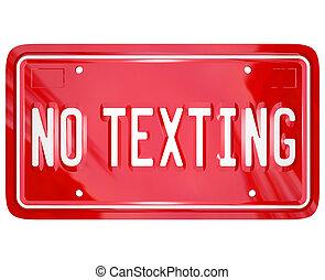 placa, licencia, no, texto, peligro, texting, advertencia, mensaje