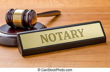 placa, martillo, notary, grabado, nombre