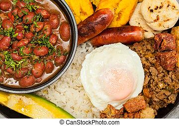 placa, medellin, carne, incluye, tradicional, colombiano, ...