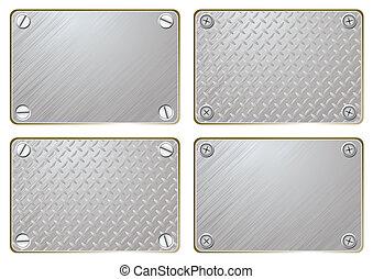 placa, metal, nombre