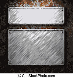 placa, metal oxidado, aluminio