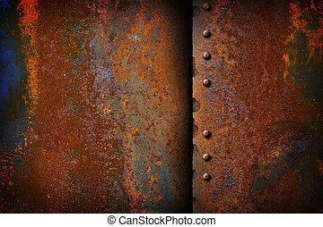 placa, metal oxidado, costura