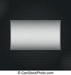placa, metal, plano de fondo
