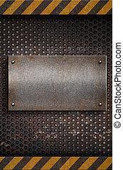 placa, metal, plantilla