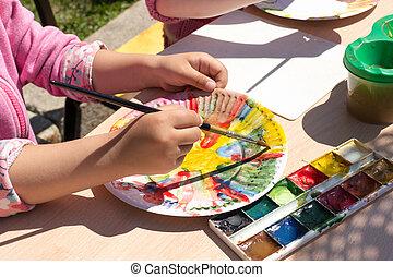 placa, niña, papel, Pintura, joven