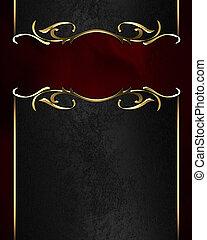 placa, nombre, oro, bordes, fondo negro, florido, rojo