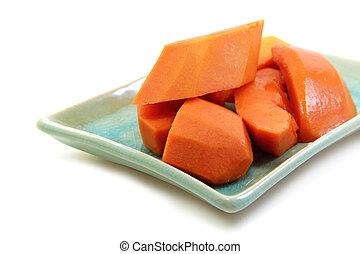 placa, papaya, madurar, slided