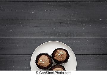 placa, pasteles, afligido, chocolate, de madera, 3, plano de fondo, blanco, hada