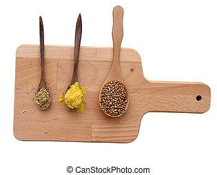 placa,  path), de madera, aislado, Colección, especias,  (clipping