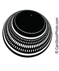 placa, plato giratorio, torcido