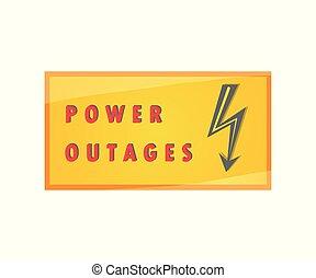 placa, potencia, aislado, outage., elemento, fondo., vector...