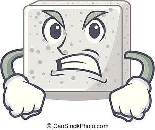 placa, queso, enojado, feta, caricatura, bloque