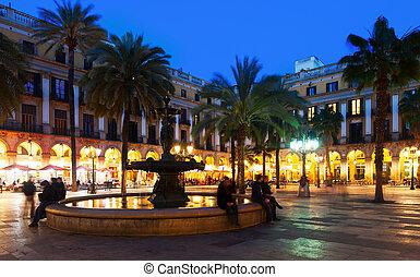 Placa Reial in winter evening. Barcelona, Catalonia