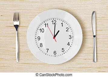 placa, reloj, de madera, cara, tabla de cena