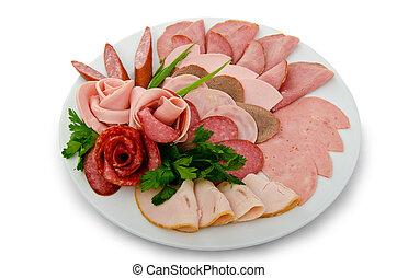 placa, selección, carne