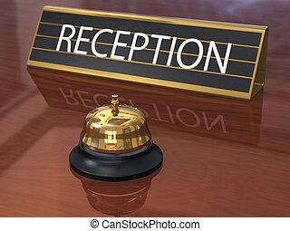 placa, servicio, campana de recepción