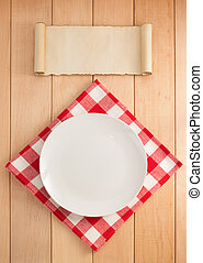 placa, servilleta, madera