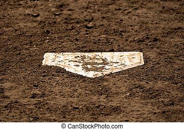 placa, suciedad, campo, beisball, fresco, hogar