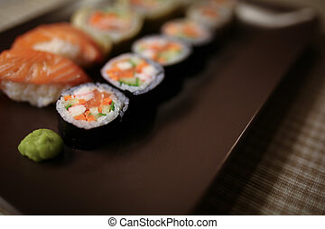 placa, sushi, delicioso, pedazos